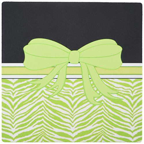 3dRose LLC 8 x 8 x 0.25 Inches Mouse Pad, Lime Green Zebra with Matching Bow (mp_155496_1)