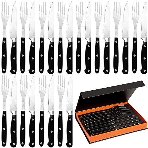 Set de 24 ustensiles de Barbecue fourchettes Couteaux dentelée BBQ boîte de Rangement Inclus Acier Inoxydable Steaks Pizzas Cuisine Lave-Vaisselle