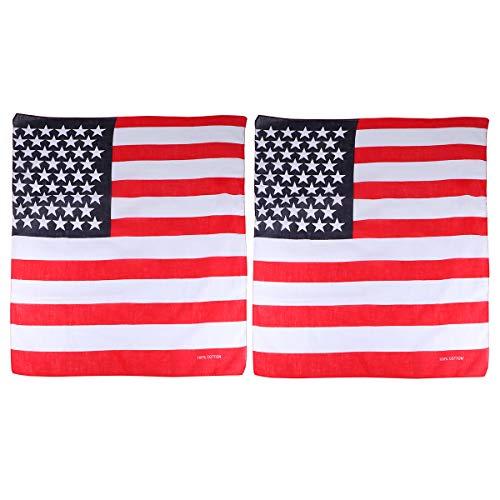Abaodam 2 bandanas cuadradas con bandera de Estados Unidos, banderas para la cabeza, accesorios patrióticos para ejercicio, correr, yoga, entrenamiento, suministros