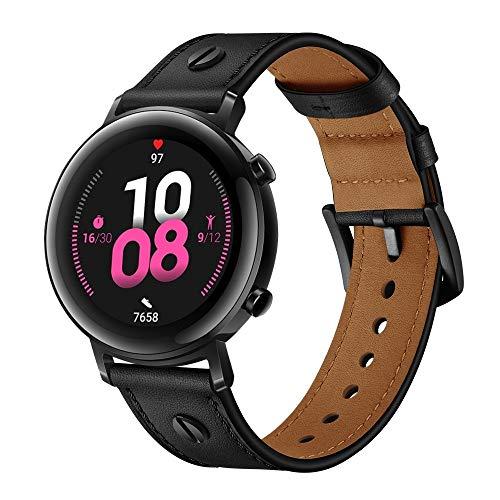 XYL-Q Correa de Reloj Watch Correa De Cuero 22 Mm para La Correa De Reloj De Huawei GT2e / GT2 46mm (Rojo Oscuro) (Color : Black)