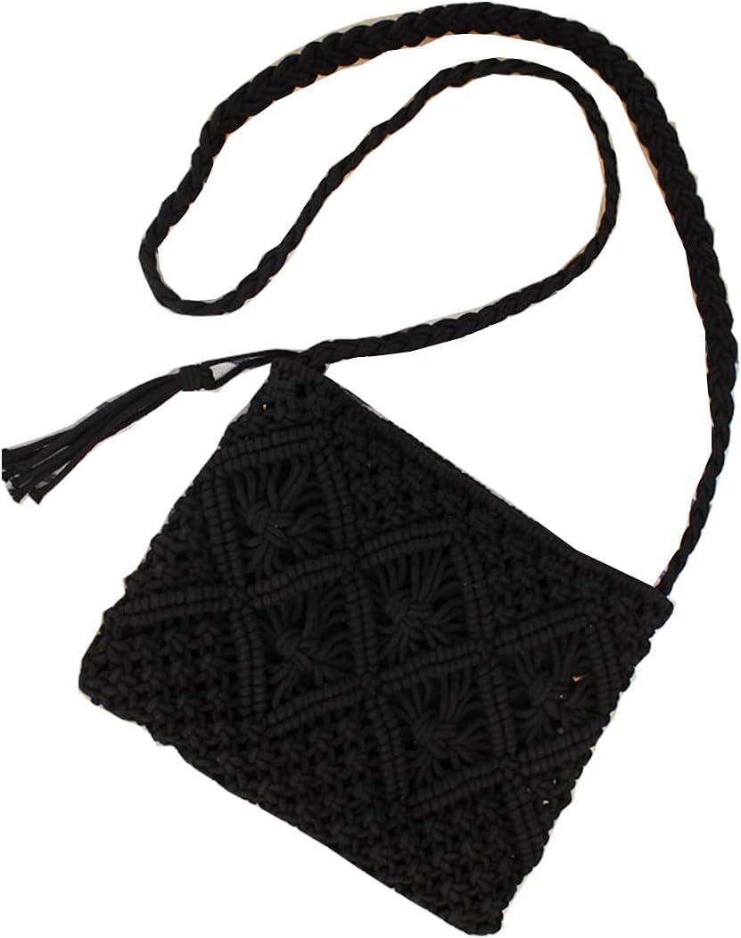 Straw Shoulder Bag Straw Clutch Women's Hand-woven PomPom Straw Crossbody Bag Summer Beach Envelope Wallet Wallet (Black B,One Size)