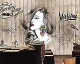 XQJBH Adhesivo De Pared Autoadhesivo - 520X290 Cm (Wxh) Wallpaper Fashion Hair Salon Peluquería Salón De Belleza Barber Shop Background Decoración De La Pared 3D Wallpaper Mura Mural De Dormitorio Ex