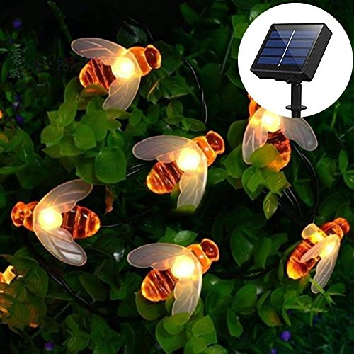 YBINGA Christmas Ornaments Solar Honey Bees String Lights, Honey Bees Lights 20 LED Waterproof Bee String Lights for Outdoor Garden Summer Party Wedding Xmas Decoration (Warm White) for Home Decor