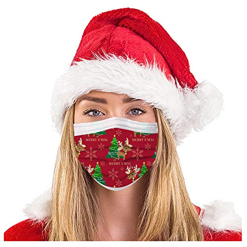 Pauelo de 3 capas para adultos, transpirable, con estampado de Navidad, para velo desechable