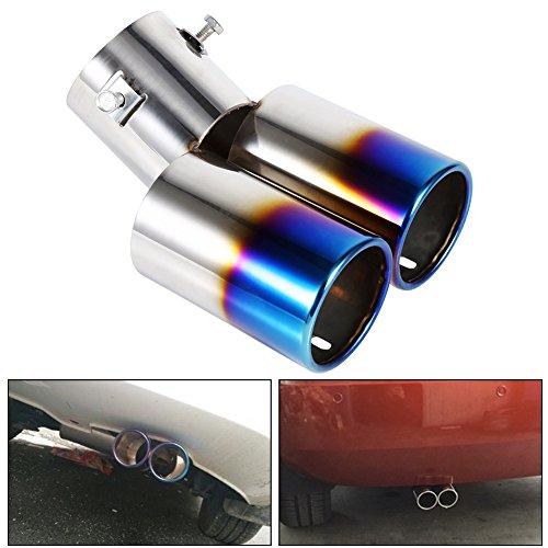 Silenciador Tubo de Escape Dual de Acero Inoxidable Tubo Terminal Diámetro 38mm a 53mm