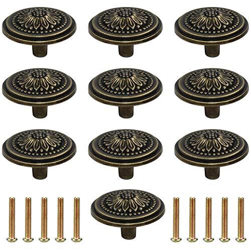 WJMY Pomos y Tiradores Vintage de Bronce 10pcs Pomo para Muebles con Tornillos, para Puertas, Cajones de Comodas, Armarios de Cocina (Bronce)