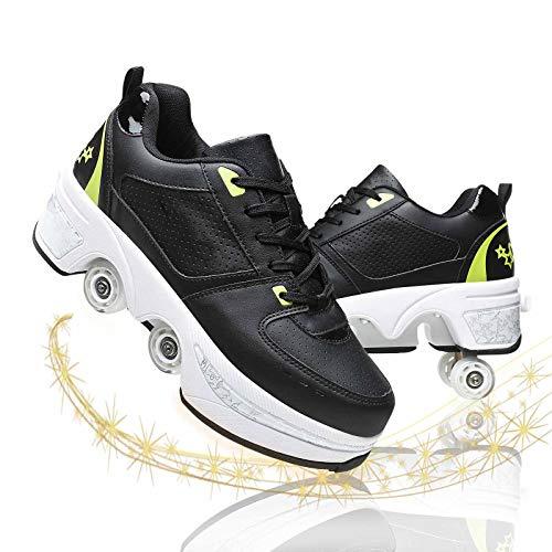Patines De Ruedas para Mujer Zapatos De Patinaje Cuádruples Ajustables Zapatos Universales para Caminar para Niños Y Niñas,Black Green,36