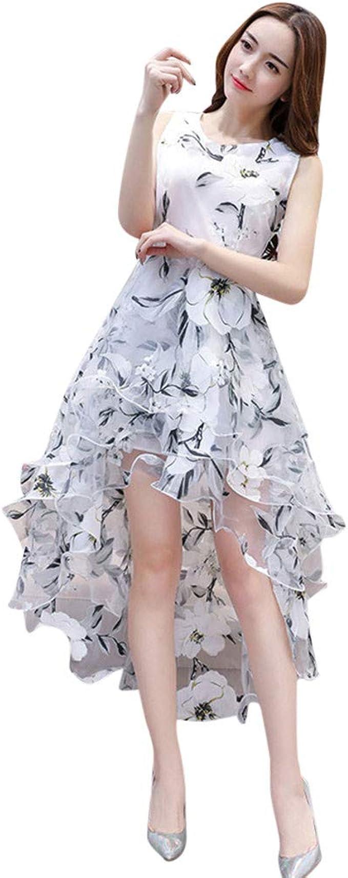 Salucia Damen Cocktail Kleid Rundhals Armellos Blumen Tull Kleider Elegant Knielang Vokuhila Ruschen Abendkleid Ballkleid Abiballkleid Partykleider Fur Frauen Hochzeit Amazon De Bekleidung