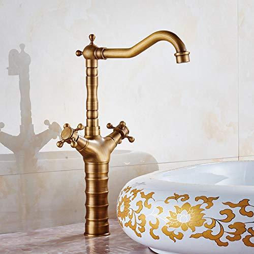 Todo el cobre europeo antiguo sobre el mostrador grifo de lavabo grifo de lavabo grifo de agua fría y caliente grifo de baño retro-largo