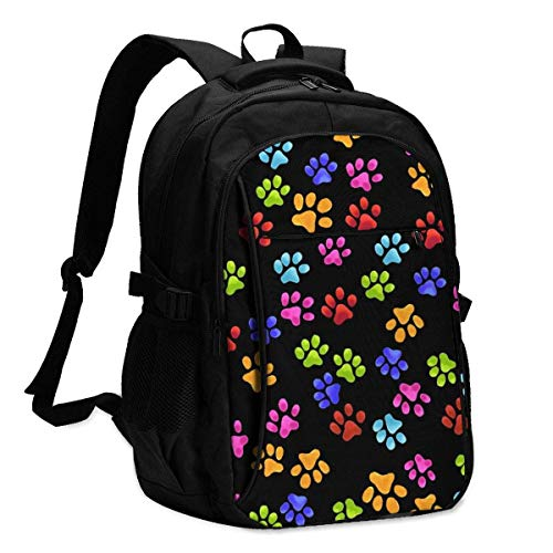 asfg Paws Black Multifunctional Personalized Customized USB Backpack, Student School Outdoor Backpack,Travel Bag Laptop Bookbags Business Daypack.