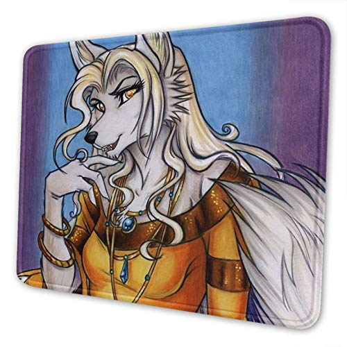 Golden Sorcha Werewolf Non-Slip Mousepad Gaming Computer Mouse Pad Gaming Desktop Laptop Mouse Pad with Stitched Edge 10x12 in