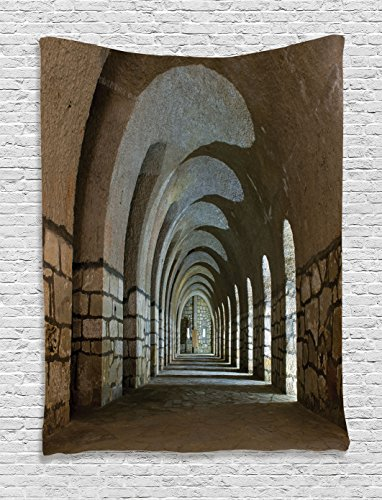 "Ambesonne Antique Tapestry, Corridor in an Old Fortress Touristic Historical Landmark Medieval Hallway Picture, Wall Hanging for Bedroom Living Room Dorm, 60"" X 80"", Sand Brown"