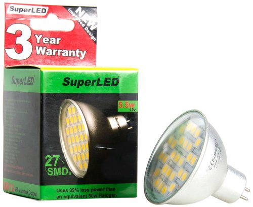 SuperLED, Ampoule chaude 5,5 Watt, MR16 27 SMD