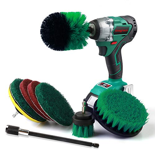 Drill Brush Attachment Kit, Batterymart 9 in 1 Power Scrubber Drill Brushes with 6' Long Reach Extension for Cleaning Bathroom, Kitchen, Garden, Floor, Tub, BBQ Tool, Automotive (Drill Not Included)