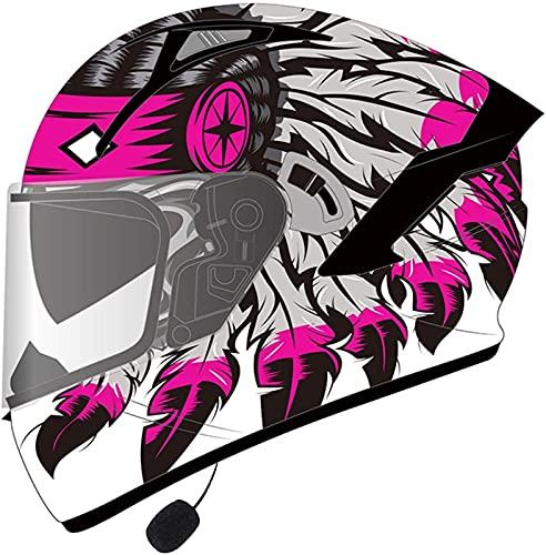 ABDOMINAL WHEEL Casco Integrado Modular Bluetooth Full Face Motos,ECE Homologado Cascos de Motocicleta,Integrado Casco de Moto Modular con Doble Visera,para Scooter Mujer Hombre C,2XL=62~63cm