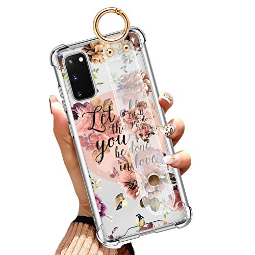 Illians Samsung Galaxy S20 6.2 Inch 2020 Clear Anti-Yellow Slim Phone Case Gasbag Full Protective Cover Christian Quotes Bible Verse Flower Floral Shell with Wrist Strap Wrist Band