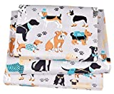 J-pinno Dogs Puppy Twin Sheet Set for Kids Boy Children,100% Cotton, Flat Sheet + Fitted Sheet + Pillowcase Bedding Set