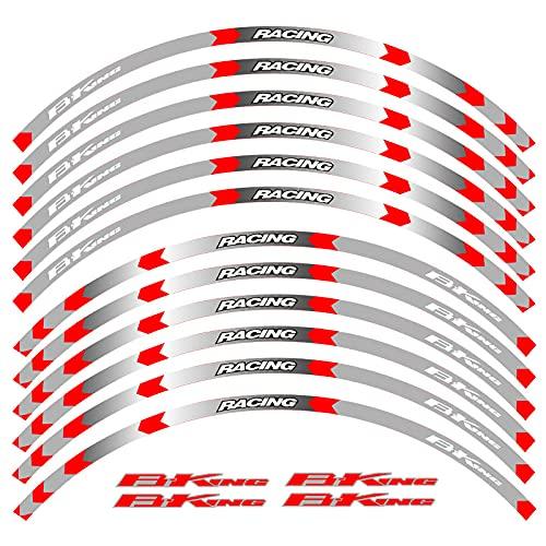 Etiqueta reflectante de las calcomanías de la rueda de la rueda de la rueda de la motocicleta 17inch Cinta reflectante para B-King 400 600 1300 Pegatina reflectante (Color : 5)