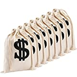 Apipi 8 Pack 6.3 x 9 Inches Canvas Money Bag Pouch with Drawstring Closure- Canvas Cloth Dollar Sign Carrying Sack for Toy Party Favor Bank Robber Pirate Cowboy Cosplay Theme Party