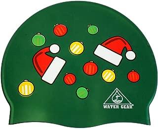Water Gear Santa Hat Ornament Graphic Silicone Swim Cap