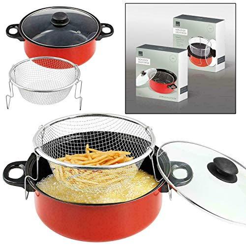 MLZYKYJZ Friteuse à frites, poêle antiadhésive 3 en 1, poêle à frire, cuiseur vapeur avec panier et couvercle, friteuse (30cm)