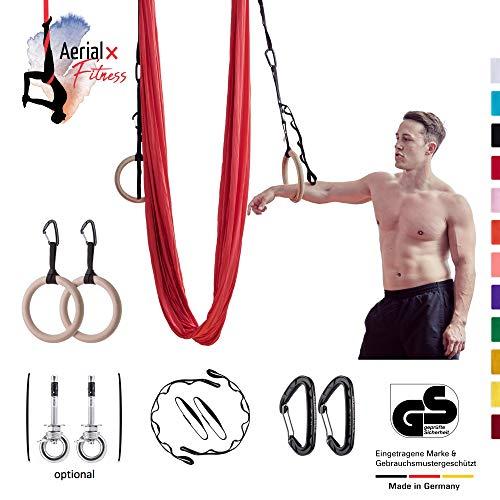 AerialX Aerial Yogatuch - Yoga Fitness Set Eisblau   Yoga Hängematte inkl. Turnringe und Deckenanker für Yoga Pilates und Gymnastik   Vertikaltuch  ...