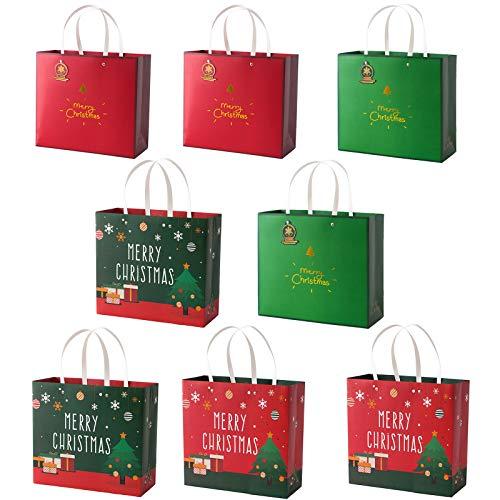 sfesnid 8 Stück Geschenktüten mit Handgriff Weihnachten Papiertüten Weihnachtstüten Kraftpapier Geschenkverpackung mit Motiv 20x22x10 cm (HxBxT)
