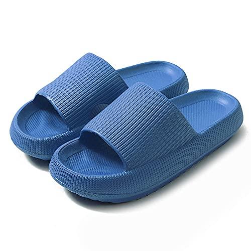 TTOOY Almohada Slides Pantuflas para Pies Malos, Pantuflas Super Suaves para el Hogar, Sandalias de Ducha Ultra Rebote de Secado Rápido Antideslizantes para Hombres Mujeres, Azul-4/5