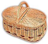 Wilpo Panier de picnic Panier d'achats Saule 50x34x38 Panier à champignons Paniers pour automobile Panier de transport Panier en saule