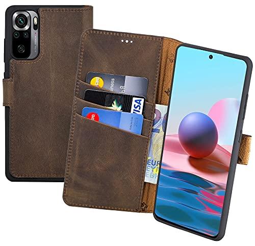 Suncase Book-Style Hülle kompatibel mit Xiaomi Redmi Note 10 Leder Tasche (Slim-Fit) Lederhülle Handytasche Schutzhülle Hülle mit 3 Kartenfächer in antik-braun