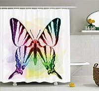 アゲハチョウのパターンのシャワーカーテン生地