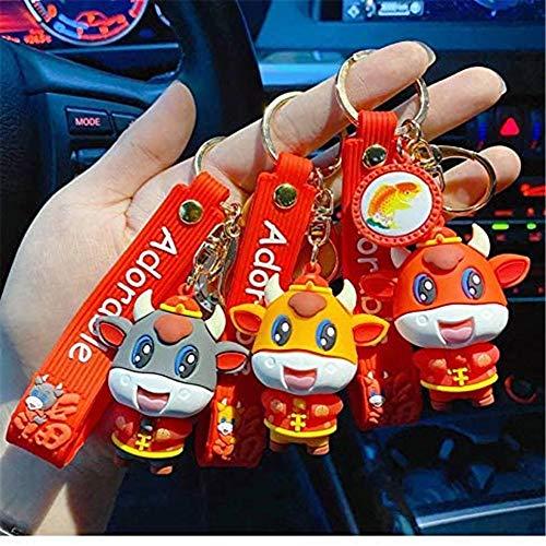 3 colgantes del año buey, llavero creativo 2021, el año del buey, regalo de la suerte, decoración para colgar en el coche