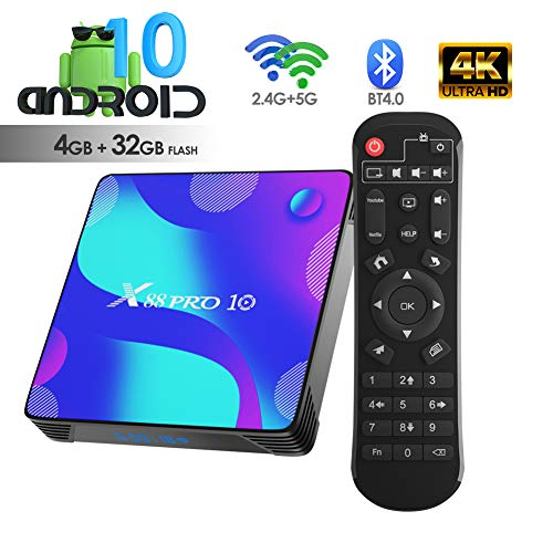 Android TV BOX, X10 Android 10.0 Smart Box 4GB RAM 32GB ROM RK3318 Quad-Core 64bit Cortex-A53 Support 2.4GHz/ 5GHz WiFi 4K UHD BT4.0
