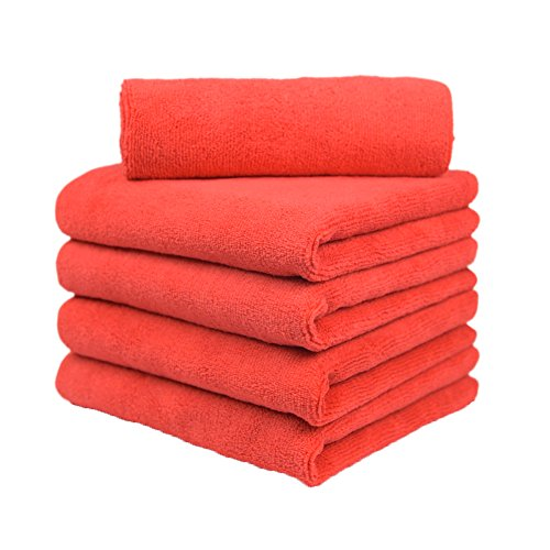 Carcarez Microfiber Car Wash Drying Towels Professional Grade Premium Microfiber Towels for Car 380 GSM 16 in.x 16 in. Pack of 5 Red