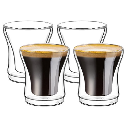 ecooe Doppelwandige Espressotassen Espresso Glaser Set 4-teiliges 120ml(Volle Kapazitat) φ7*8cm