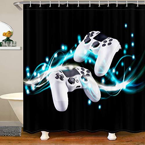 Cortina de ducha de tela de Gamepad para niños, niñas, adolescentes, controladora de videojuegos, cuarto de baño, impermeable, con ganchos, notas de piano, 180 x 210 cm