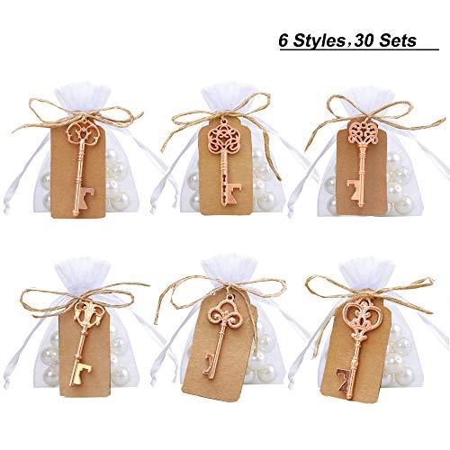Amajoy Confezione da 30 Portachiavi Vintage a Forma di Scheletro Assortiti con Busta Bianca a Sacchetto Trasparente Favori di Nozze d'Epoca con Regali di Compleanno (6 Stili, Oro Rosa)