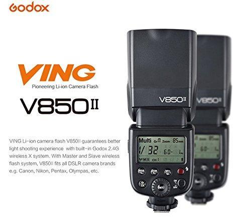 Godox v850ii Kit VING Iones de Litio Speedlite Flash de Estudio para cámara réflex Digital con Zapata estándar para Flash Negro