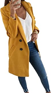 Womens Lapel Double Breasted Long Sleeve Solid Color Trench Coat Outwear Overcoat