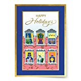 Designer Greetings Interfaith Boxed Christmas Cards, Apartment Windows with Christmas and Hanukkah Holiday Symbols (Box of 18 Gold Foil Embossed Cards with Envelopes)