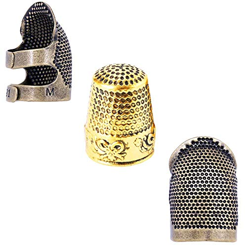 3 Pcs Sewing Thimble,Copper Finger Protector, Metal Sewing Thimble, Adjustable Finger Shield Ring Fingertip Thimble Sewing Quilting Craft Accessories DIY Sewing Tools