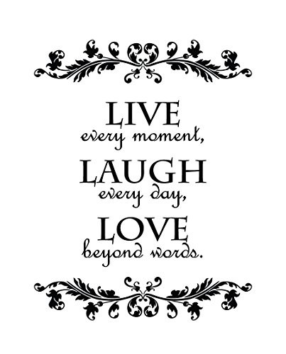 Newclew Live Every Moment, Laugh Every Day, Love Beyond Words Wall Quote Decal Sticker Art Décor