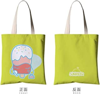 JUNSTD Tote Bag,White Egg Elegant Ice Cream,Student Canvas Bag Portable Green Shopping Bag Unisex Daily Commuter Bag Hand Large Capacity Folding Wash,Small(30X35Cm)