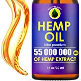 Hemp Oil Extract 55 000 000mg, Immune System Support, Pain and Anxiety Relief, Vitamin C, Organic Extra Strong Formula, Helps with Insomnia, Provides Relaxation and Mood Boost, Rich in Omega 3-6-9