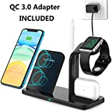 3 in 1 Wireless Charging Station for Apple Watch,Airpods Pro,iPhone,Wireless Charger Stand Compatible iPhone 11 Pro/XR/8Plus/XS/X ; Charging Station for Apple Products (QC 3.0 Adapter)