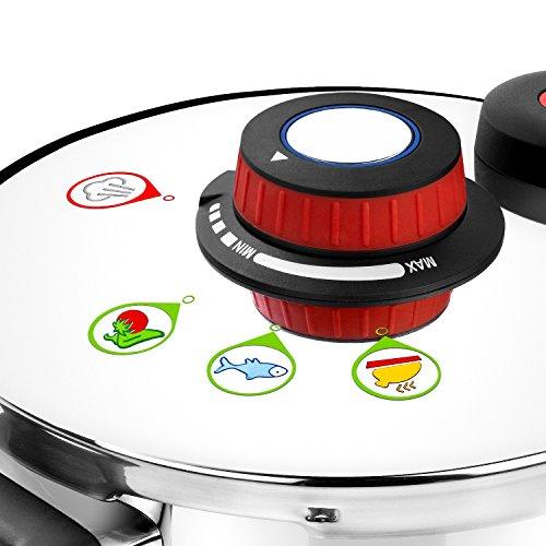Monix Selecta Duo Set autocuiseurs rapides 4 et 6 litres avec système de sélection d'aliments et fermeture automatique, INOX Acier 18/10, argent, 2 unités