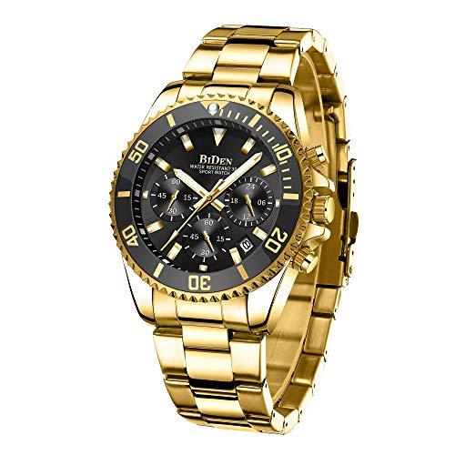 Preisvergleich Produktbild Herren Uhr Männer Chronographen Gold Edelstahl Wasserdicht Designer Armbanduhren Mann Militär Großes Leuchtende Analog Datum Business Uhren