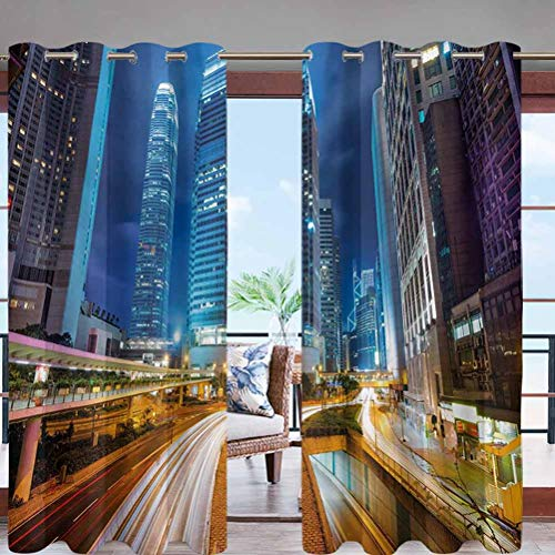 Fade Resistant Blackout Curtains with Grommet Top Fast Moving Cars at Hong W96 x L96 for Sliding Door, Patio, Pergola, Porch, Deck, Lanai, and Cabana