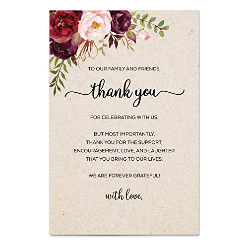 321Done Thank You Table Place Setting Cards (Set of 50) Large 4x6 with Love, Wedding, Party, Retirement, Graduation, Birthday, Shower, Baby Bridal - Made in USA - Watercolor Red Roses Floral Tan