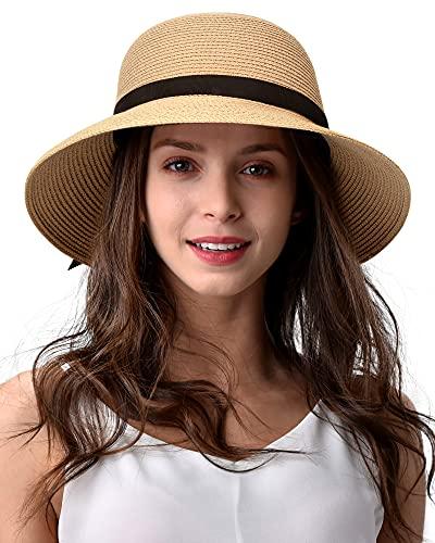 FURTALK Women Brim Sun Hat Summer Beach Cap UPF UV Packable Straw Hat for Travel(Medium, Adult NormalBrim, Khaki)